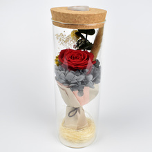 Valentines Day Gift Decor Glass Cover Preserved Flowers Rose With LED Light