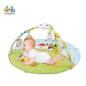 Musical indoor crawling blanket activity gym cotton baby round playmat with sides