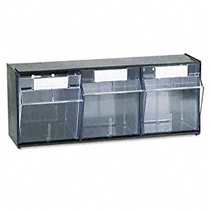deflect-o : Tilt Bin Plastic Storage System, Three Bins, 23 5/8 x 7 3/4 x 9 1/2, Black -:- Sold as 2 Packs of - 1 - / - Total of 2 Each