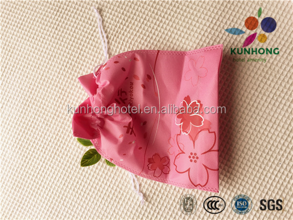 Hotel pink and cute non-woven laundry bag/gift bag with string