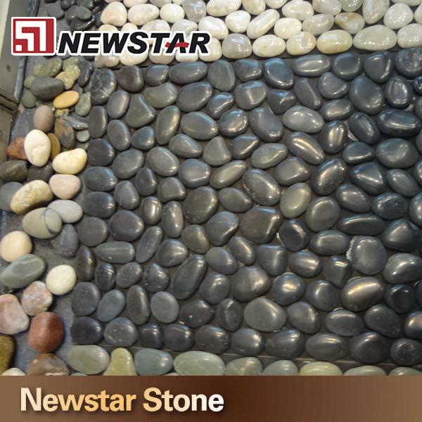 Black Polished River Rock Pebble Mosaic Stone