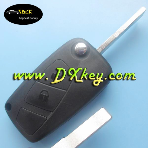 3 button flip key fobs wholesale for Fiat key the third button is blank in black SIP22 blade backside without battery door