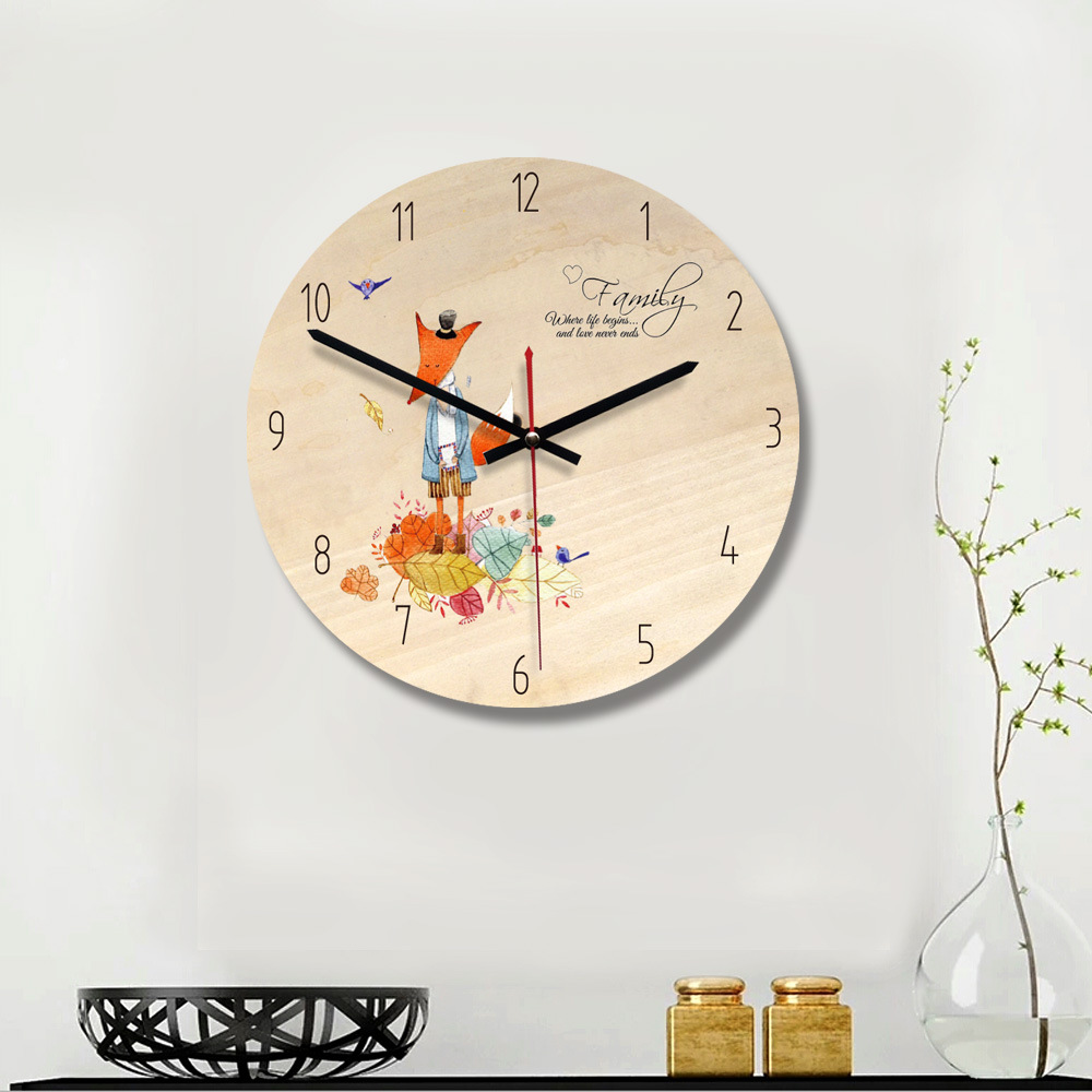 Amazon Hot Cake Cartoon Fox Mute Wall Sticker Decorative Clock