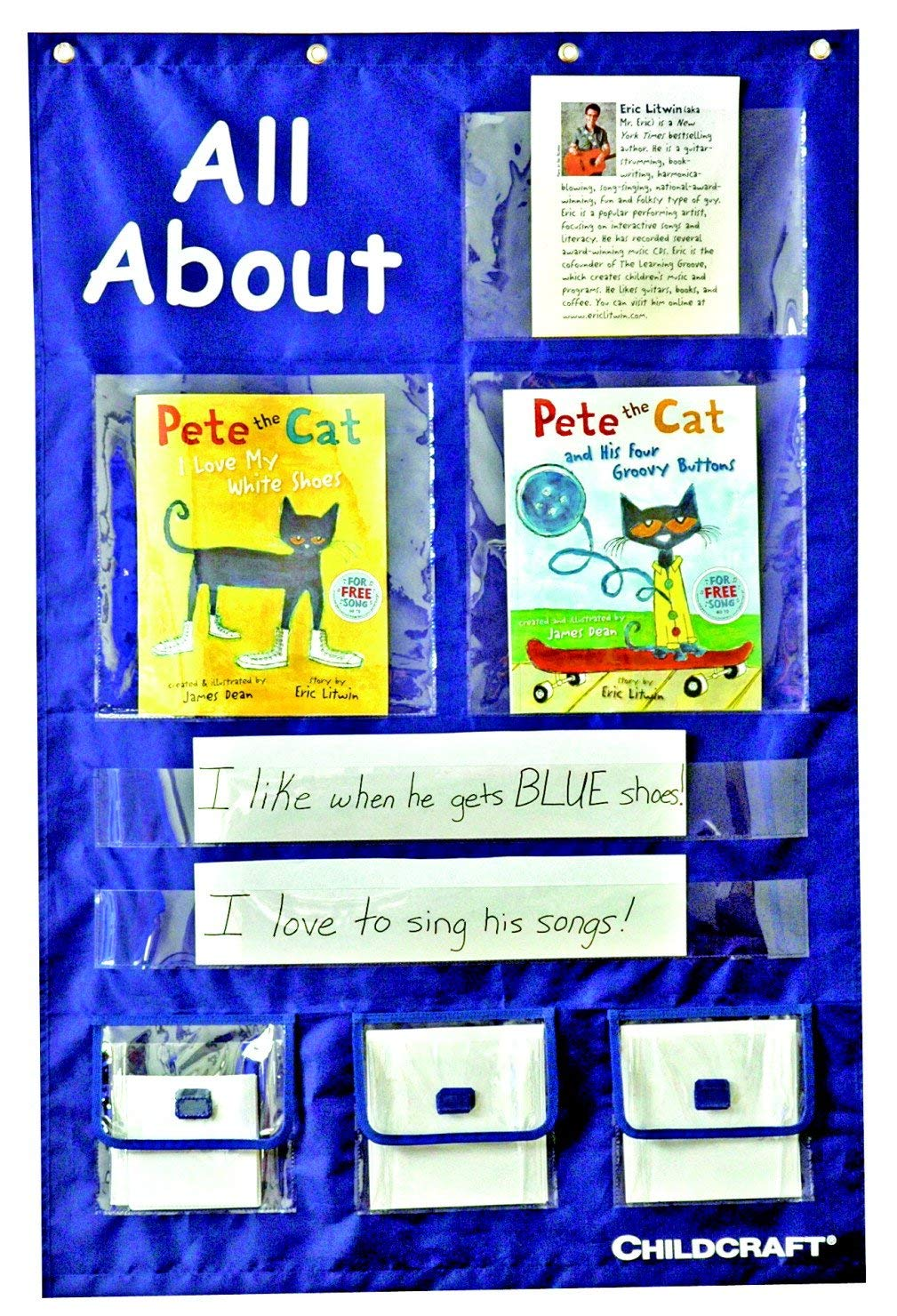 "Childcraft 1435206 Think Literacy Pocket Chart for Grade Pre-K to K, 29"" x 43-1/2"", Blue"
