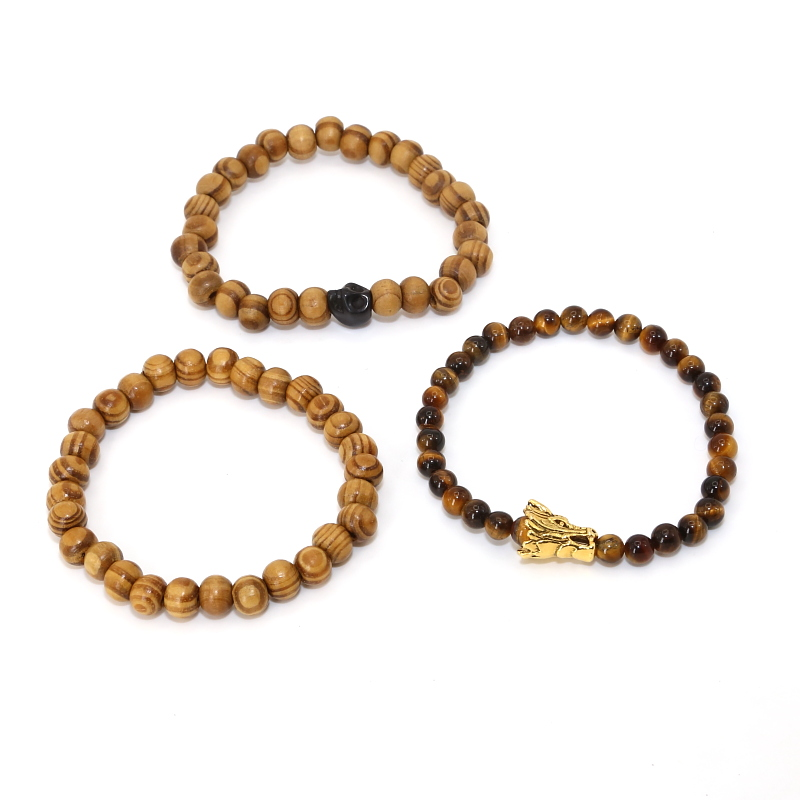 3pcs/pack Wood beads Black Skull Dragon Head Tiger Eye Beads Natural Stone Bracelet Pack for Men and Women