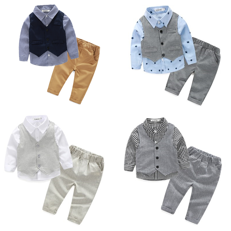 2016 Spring Fashion Baby Boy Clothes 4-24m baby clothes 3pcs baby clothing set wedding baby boy shirt+gentleman suit vest+pants