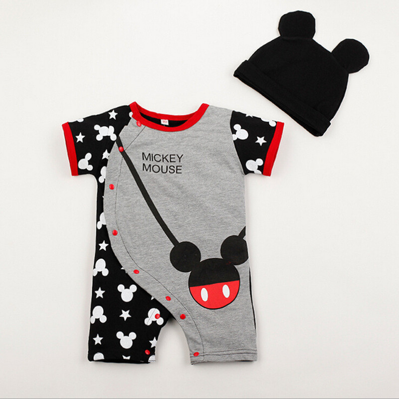 2019d5dc0543 Get Quotations · Baby Clothes Summer Mickey Minnie Baby Onesie Short Sleeve  Cotton Gifts Jumpsuit Kids Cartoon O-
