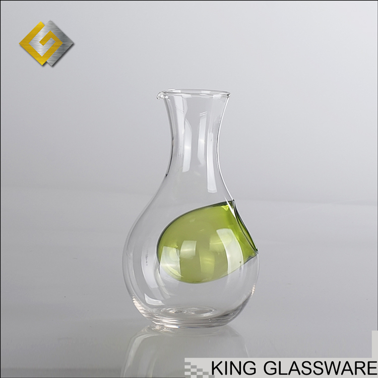 400ml glass chiller cooler warmer for drinking wine decanter with blue green colored glass liner