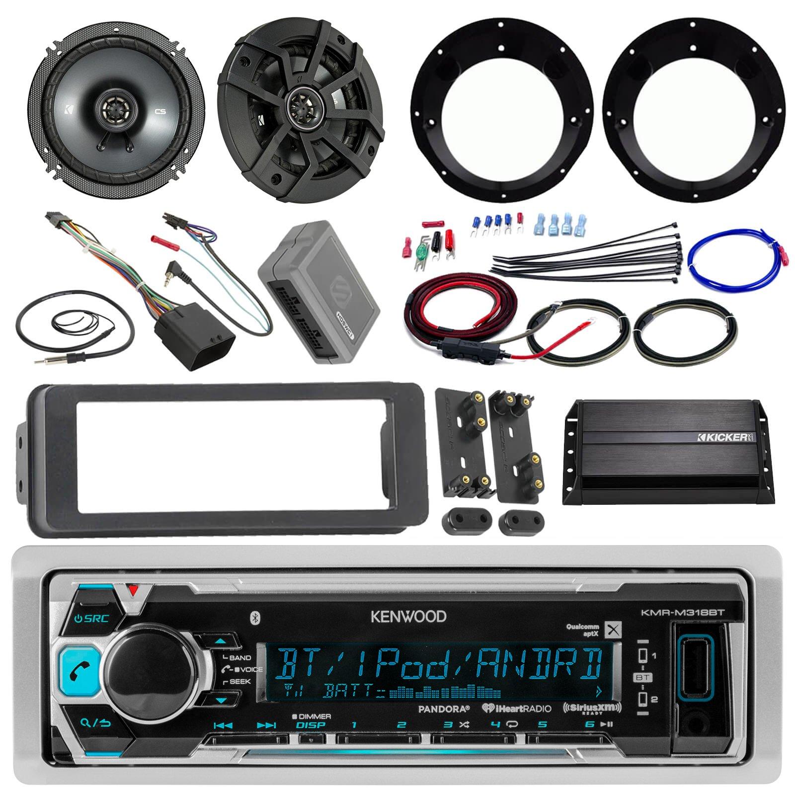 "Kenwood KMR-M315BT Stereo Receiver Bundle W/ 2 Kicker 6.5"" Speaker W/ Motorcycle Speaker Adapters + Class D Amplifier W/ Amp Kit + Dash Trim Kit W/ Handle Bar Conroller + Enrock Antenna"