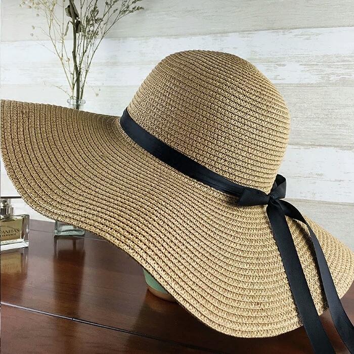 dbecf8e84f3 Women s Big Brim Sun Hat Floppy Foldable Bowknot Straw Hat Summer Beach Hat