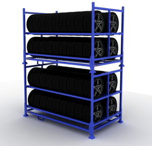 Industrial Factory Wholesale Moveable Metal Stacking Rack for Tire Storage