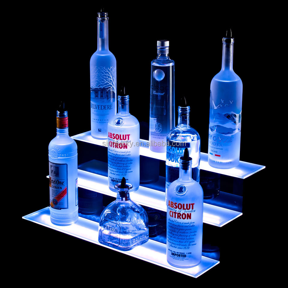 2 Tier decorative liquor bottle display / led illuminated acrylic display case / LED Liquor Shelf Display /