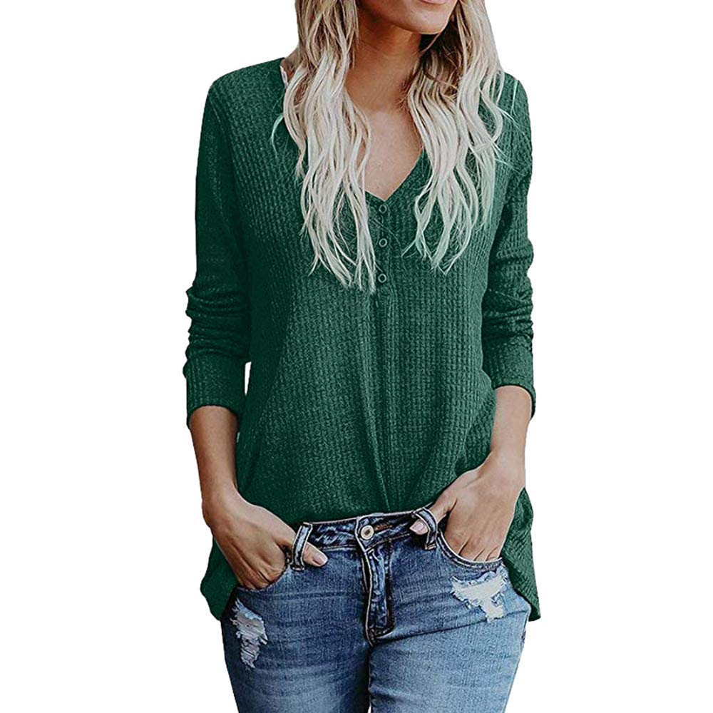 Womens Tops Long Sleeve Casual Women Full V Neck Blouse Fall Button Pullover Lady Loose Knit Blouse Tops