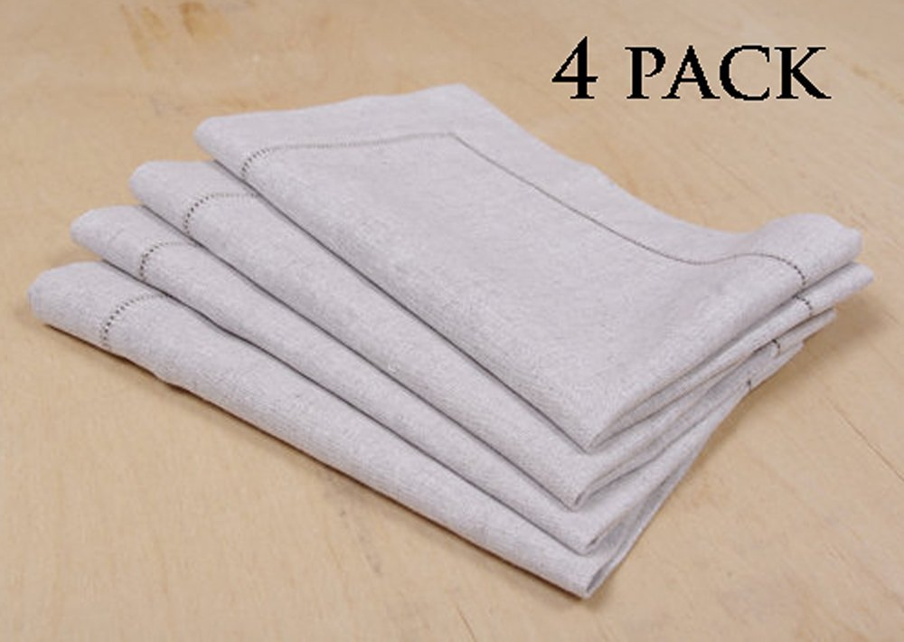 Linen Clubs - Hemstitch Linen Placemat - 14x19 Inches (Set of 4) - Natural - 100% Linen - Super Value Hand made Ladder Lace Look Placemat & One of life's little home luxuries