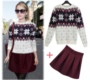 European Style Geometry Snow Pattern Sweater Fashion Mini Dress Ladies Two Piece Suit Dress