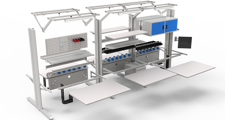 Detall מגדל קו esd הרכבה מחשב workbench למכירה עם מגירות ומתלים