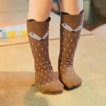2016 Hot New Soft Cotton long Socks for Children Girls Fox Pattern Hosiery For Age 1