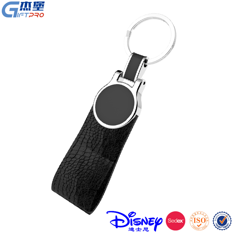 wholesale price promotional ox leather made custom key ring