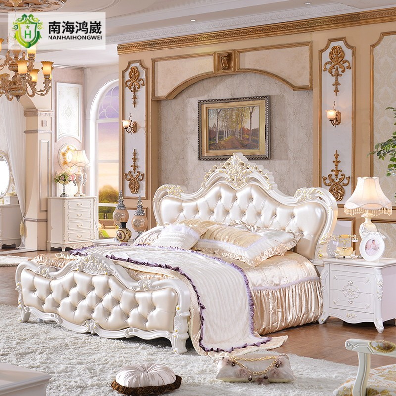 Bursa French Classic Wood Carving Wedding Leather Bedroom ...
