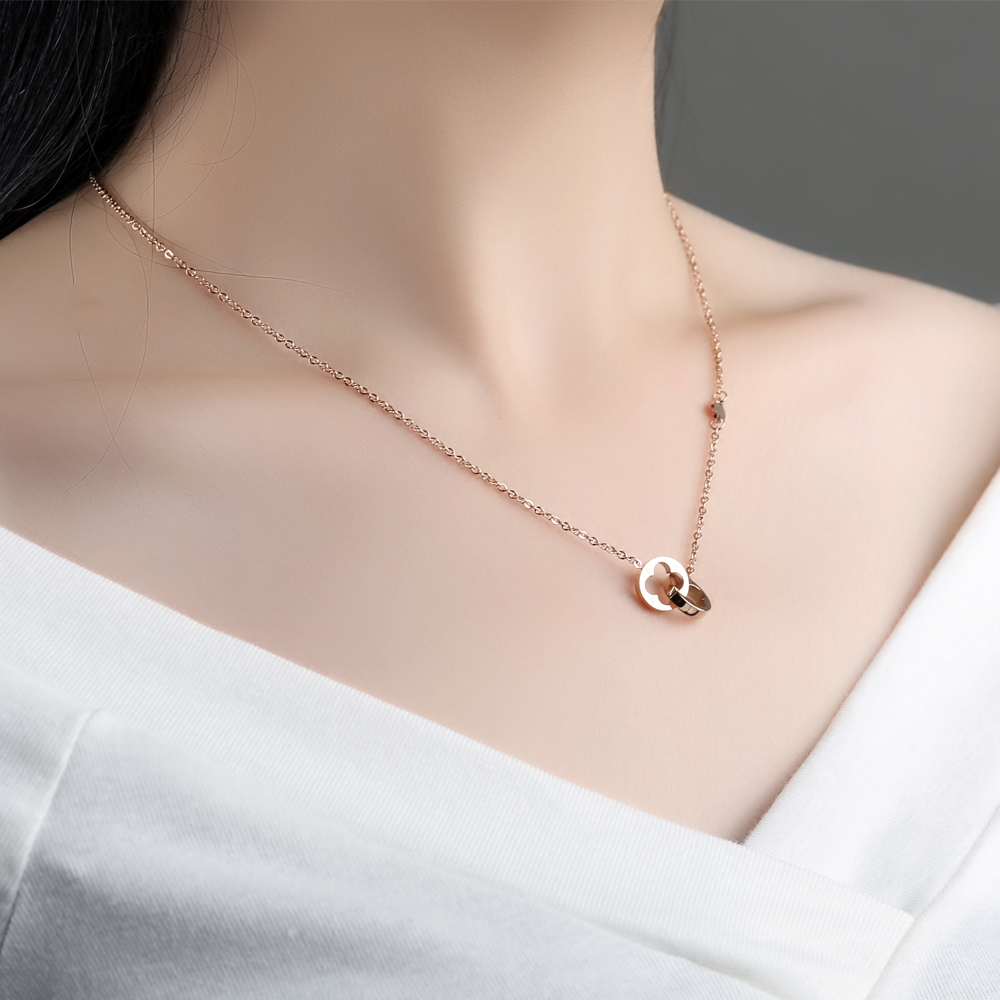 Wholesale Custom Stainless Steel Chain Double Round Pendant Necklace For Women