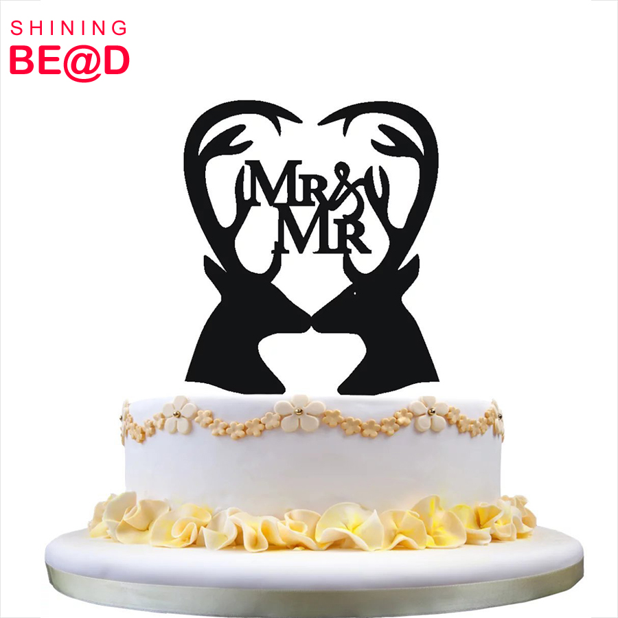 Gay Wedding Cake Topper- Mr & Mr Cake Topper with 2 Deers Silhouette Perfect for Same Sex Wedding