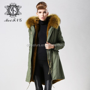 2017 popular army green cotton shell women down coat with fur collar