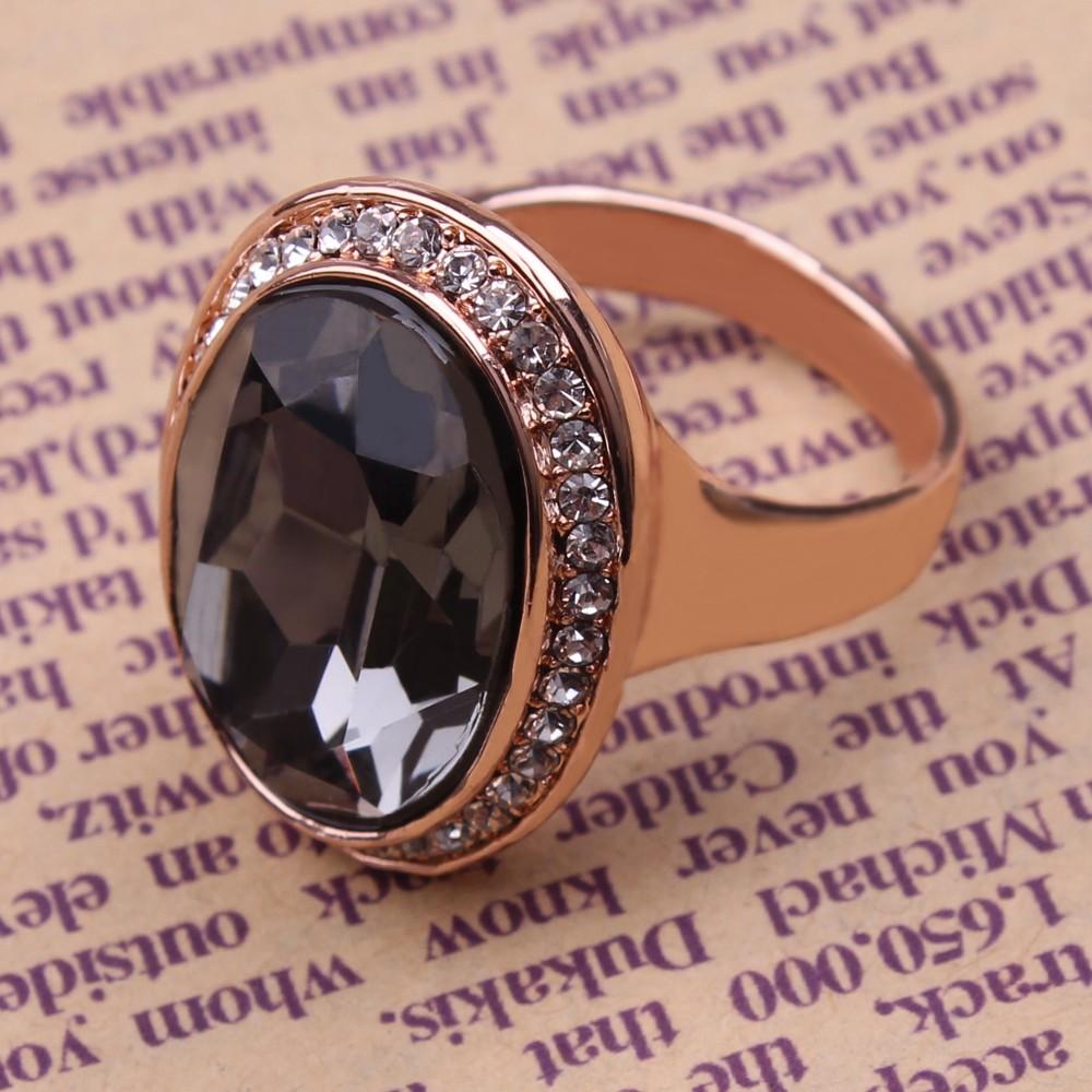 ed4017b8be2e Vintage Nuevo Diseño De Cristal Grande Negro Joyería De Anillo De ...