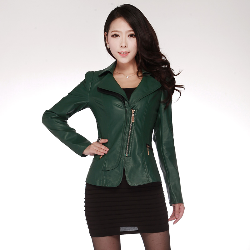 2013 autumn PU clothing female short design motorcycle leather clothing slim small jacket outerwear women's plus size leather
