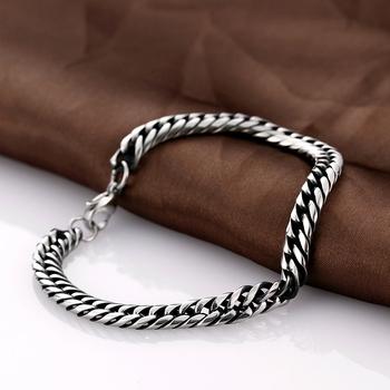 Link Bracelet Mens Silver Cuban