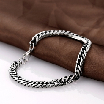 Motorcycle Chain Link Bracelet Mens Silver Cuban