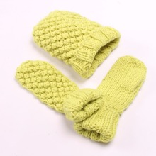 Fashion ladies knitting winter hat and gloves sets