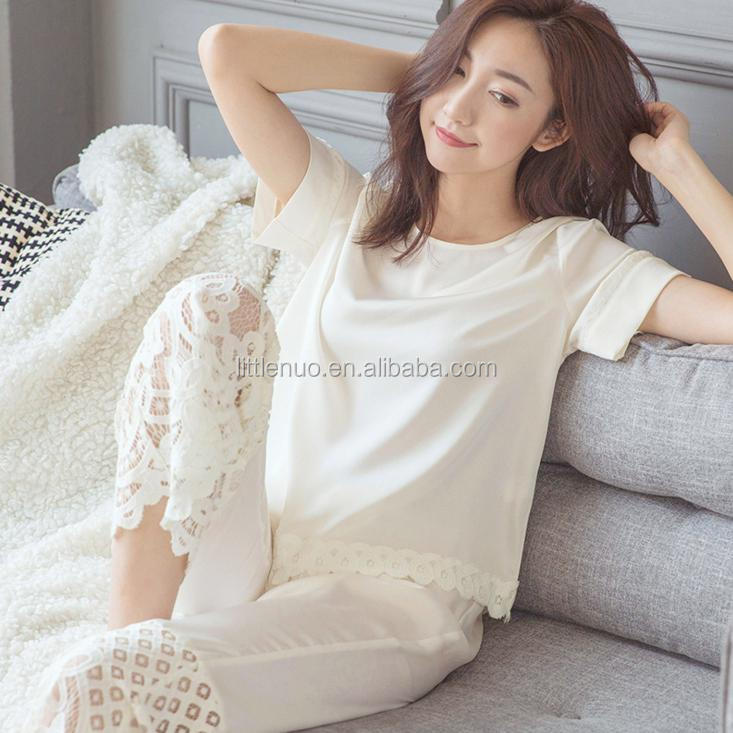 NP0062Z High quality Summer Silkly Hollow Out Pajamas Woman Sexy Lace Loungwear Sets