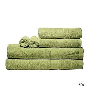 Luxurious Rayon From Bamboo Super-absorbent Solid 6-piece Towel Set (Kiwi)