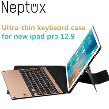 Ultra Thin Aluminum Wireless Bluetooth Keyboard Leather Tablet Case for New iPad Pro 12.9