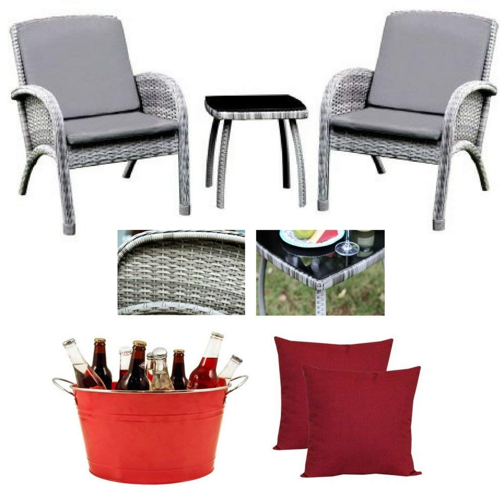 3-Piece Kerry Patio Seating Set With Cushions In Gray, Mainstays 2-Piece Really Red Toss Pillow & Country Home Big Red Galvanized Tub, Furniture of America, All-Weather, Patio Outdoor, UV-Resistant