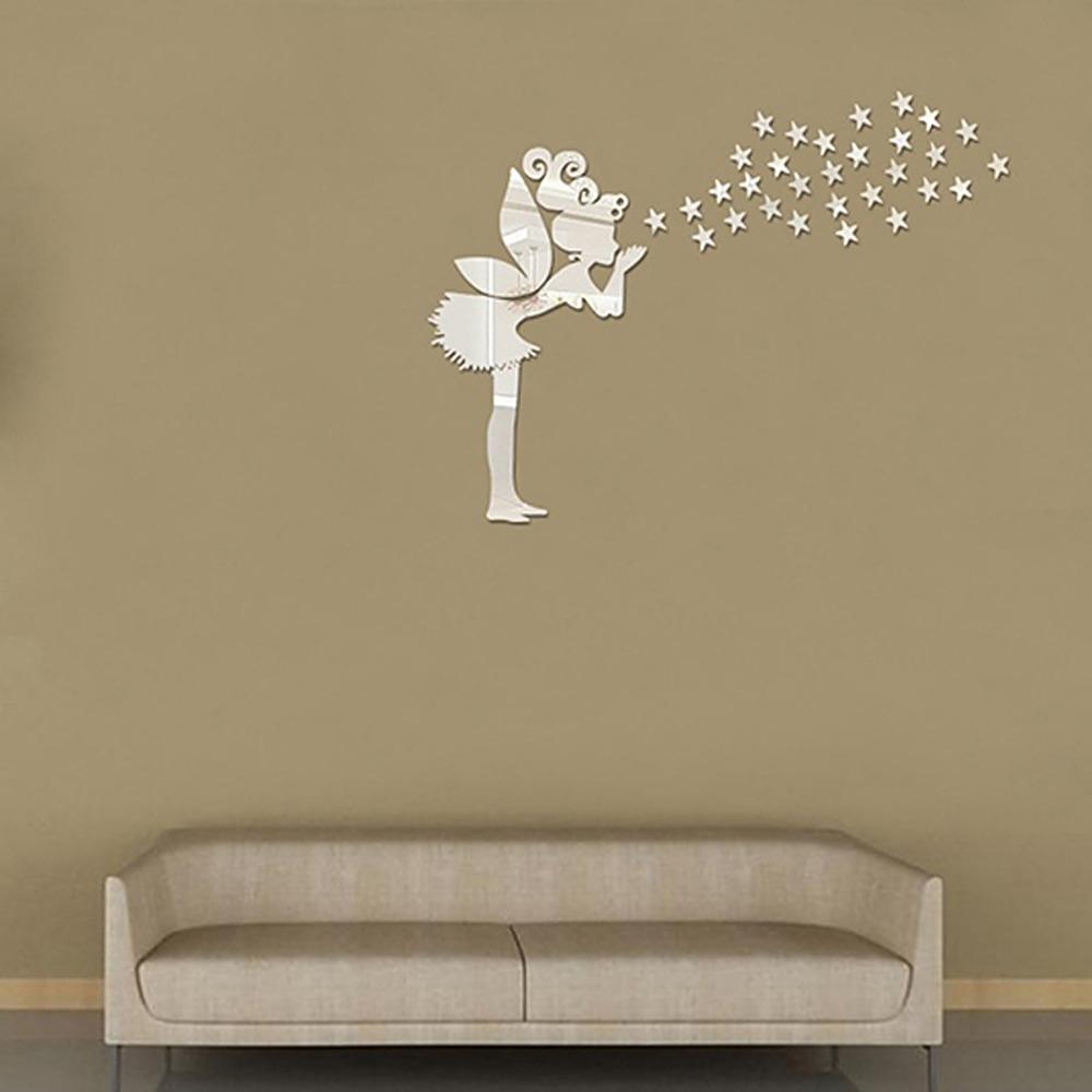 Mirrored Star Wall Decor: 36pcs Angel Fairy Stars Modern Mirror Stickers Wall Home