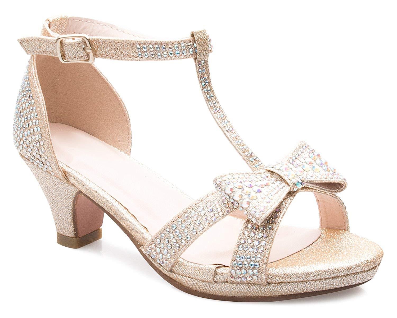 fd0dcb701bc Get Quotations · OLIVIA K Girl s Glitter Leatherette Open Toe Strappy Ankle  T Strap Kitten Heel Sandal (Toddler