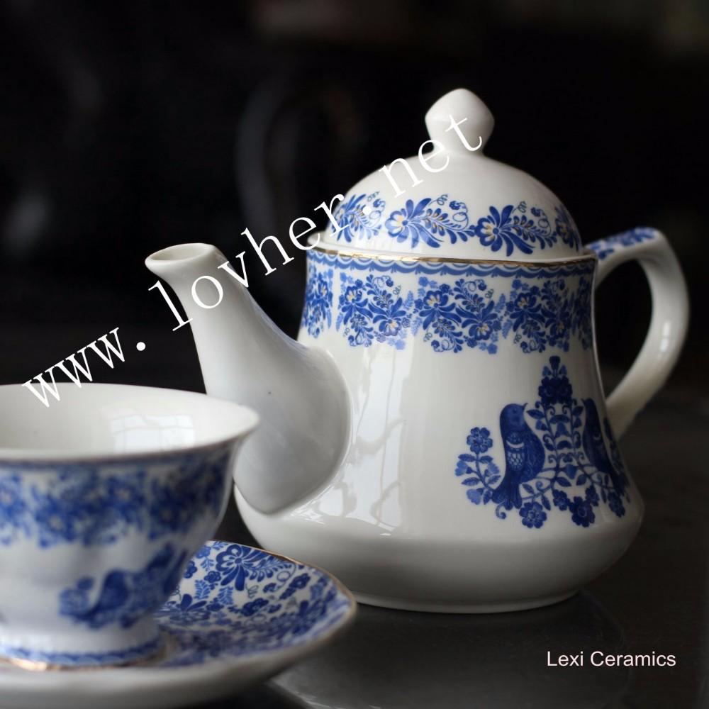 Chinese Style Blue And White Design Fine Bone Porcelain Ceramic