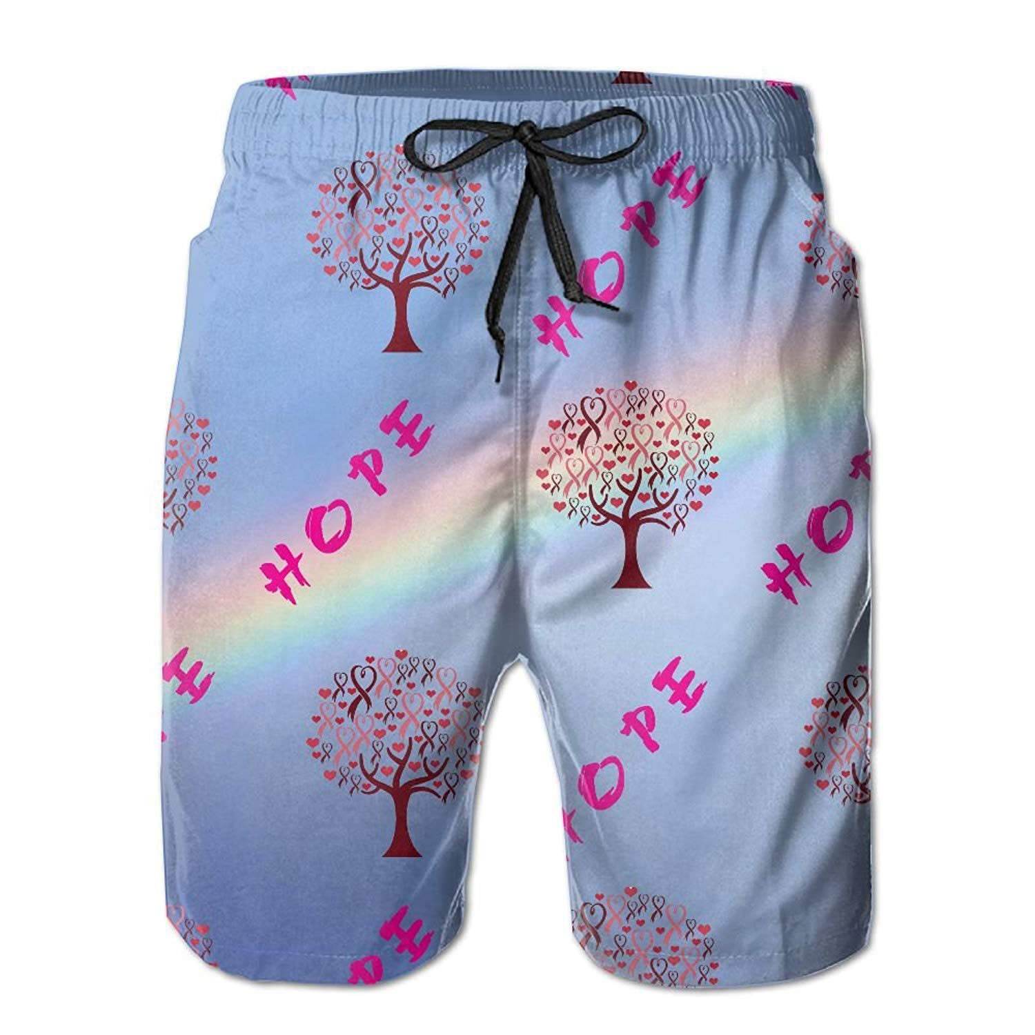 Mens Pink Ribbon Breast Cancer Awareness Casual Quick Dry Swim Trunks Elastic Drawstring Cargo Shorts with Pocket