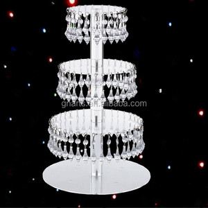 China factory price amazing bling cake top with hanging crystal,wedding centerpiece stand