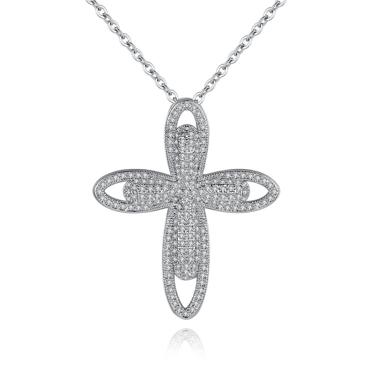 Fashion cubic zirconia womens cross pendant necklace