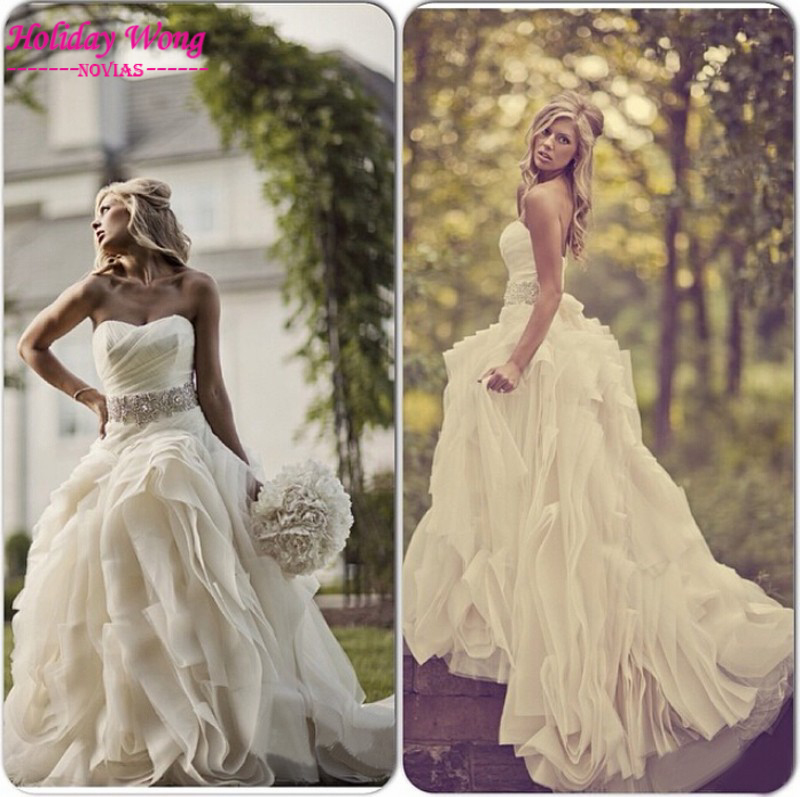 Wedding Gowns For Outdoor Weddings: Vintage Outdoor Wedding Dresses Strapless Beading Waist