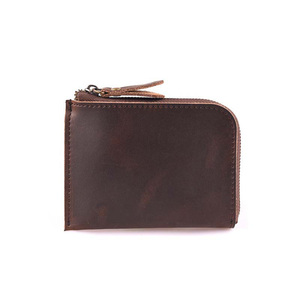 Small zip wallet Genuine leather coin purse for men and women Daily carry zip wallet