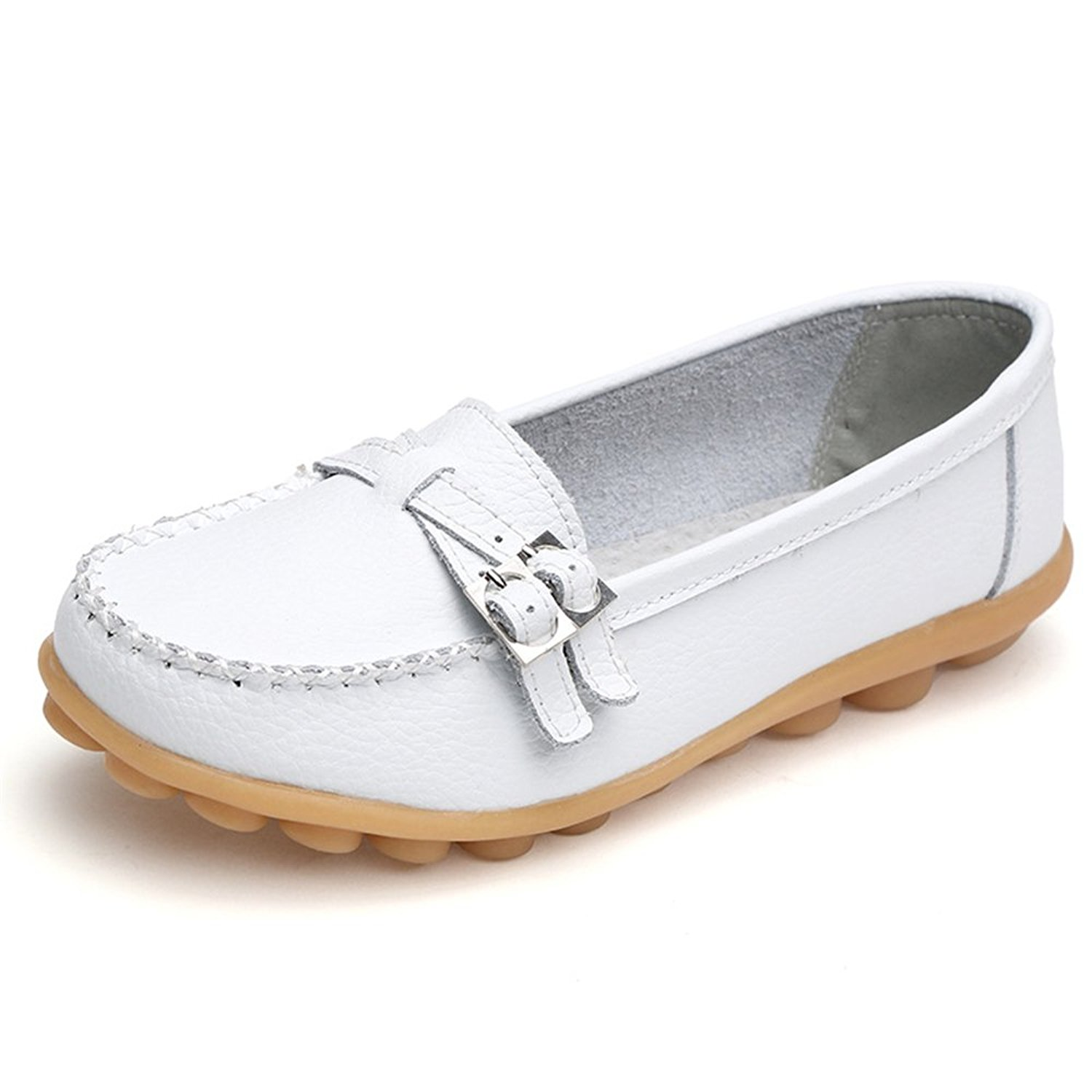 d7943910302 Get Quotations · Womens Cowhide Leather Lace-up Driving Shoes Loafers Boat  Shoes