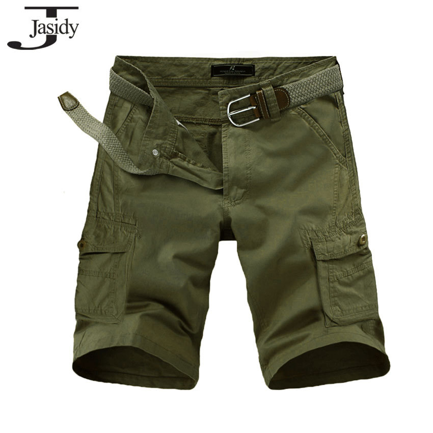 Size 28-38 Solid Cotton Straight Cargo shorts Men Knee Length Zipper Fly Pockets military shorts Mens Bottoms khaki green 9302