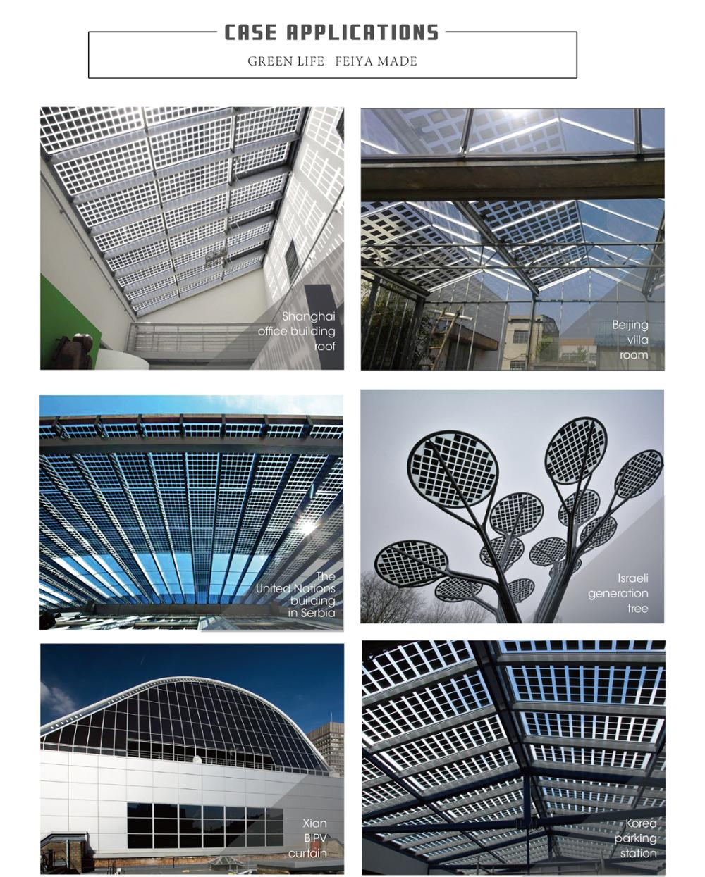Quality double glass BIPV transparent solar panel for project mono  polay