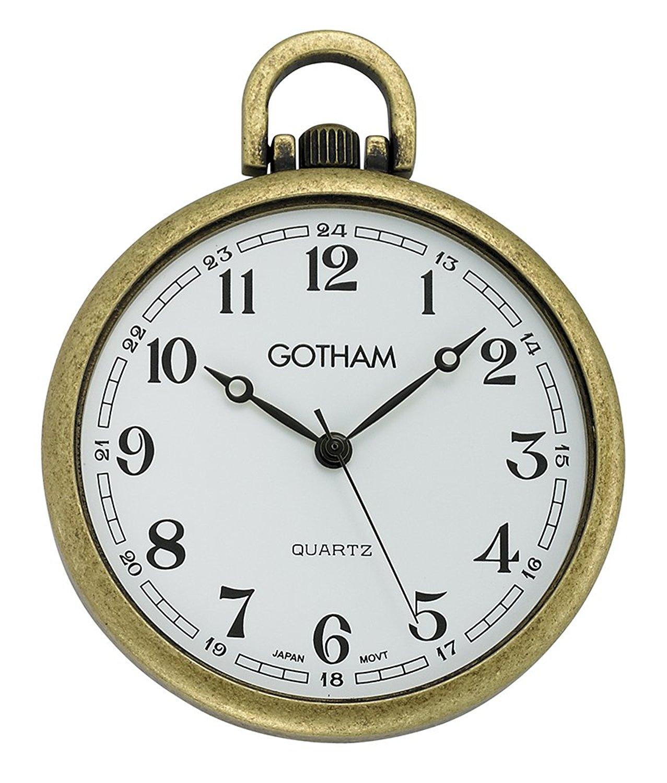 Gotham Men's Antique Gold-Tone Ultra Thin Railroad Open Face Quartz Pocket Watch # GWC15028A