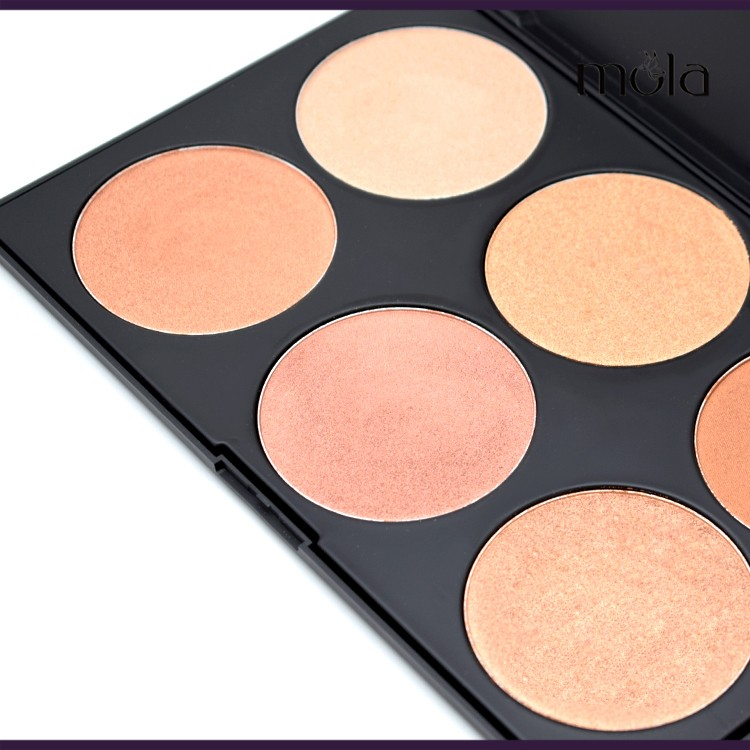 Create your own brand makeup suppliers china 6 color highlighter palette makeup private label