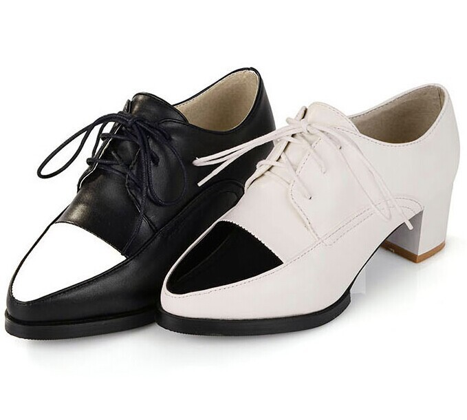 New 2014 Spring Plus Size Deep Mouth Single Shoes Fashion Pointed Toe Oxford Shoes For Women Sexy Black Pumps Shoes Ankle Boots