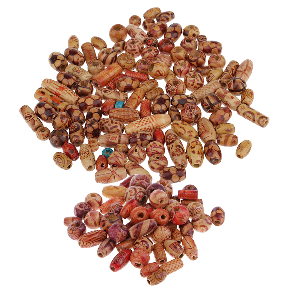 Beads & Jewelry Making Phenovo 100 Pieces Mixed Printed Wood Beads Large Hole Bead Diy Jewelry Accessories Make Necklace Bracelet Macrame Craft Project